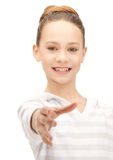 Teenage girl with an open hand ready for handshake Stock Photos
