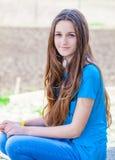 Teenage girl outdoor portrait. Outdoor portrait of beautiful teenage girl in spring Stock Photos