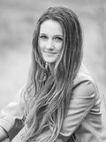 Teenage girl outdoor portrait. Outdoor portrait of beautiful teenage girl in spring in black and white Royalty Free Stock Photography