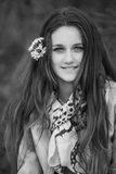 Teenage girl outdoor portrait. Outdoor portrait of beautiful teenage girl in spring in black and white Stock Images