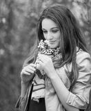 Teenage girl outdoor portrait. Outdoor portrait of beautiful teenage girl in spring in black and white Royalty Free Stock Photo