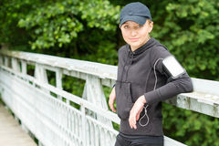 Teenage girl outdoor in sport outfit jogging. Teenage girl outdoor in sport outfit relax after jogging Royalty Free Stock Photo