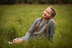 Teenage girl outdoor. In autumn park Royalty Free Stock Image