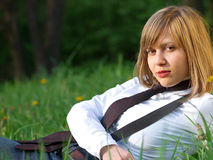 Teenage girl outdoors Royalty Free Stock Images
