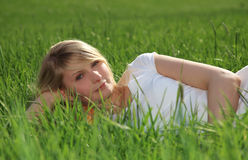 Teenage girl outside on a sunny day Royalty Free Stock Photo