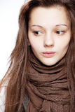 Teenage girl over white. Background Royalty Free Stock Image