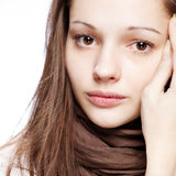 Teenage girl over white. Background Stock Photos