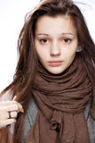 Teenage girl over white. Background Stock Image