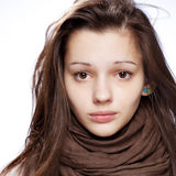 Teenage girl over white. Background Royalty Free Stock Photos
