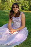 Teenage girl in party or prom dress Royalty Free Stock Photos