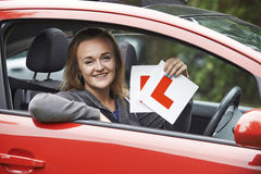 Teenage Girl Passing Driving Exam Stock Photography