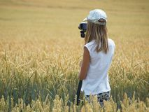 Teenage girl photographer Stock Images