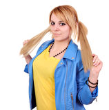 Teenage girl with pigtail portrait Stock Photo