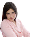 Teenage Girl in Pink Bathrobe Stock Images
