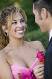 Teenage girl pinning boutonni�re on date Stock Photography