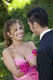 Teenage girl pinning boutonnière on date outside Stock Images