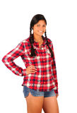 Teenage Girl in Plaid Shirt and Jean Shorts Royalty Free Stock Images