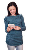 Teenage girl play with tablet pc Stock Photos