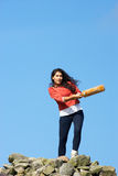 Teenage Girl Playing Cricket Outdoors Royalty Free Stock Photo