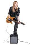 Teenage Girl Playing Electric Guitar Stock Photos