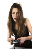 Teenage girl with a joystick Stock Images