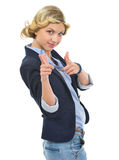 Teenage girl pointing in camera Stock Image