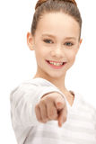Teenage girl pointing her finger Stock Photo