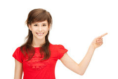 Teenage girl pointing her finger Royalty Free Stock Photography