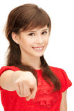 Teenage girl pointing her finger Stock Photos