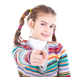 Teenage girl pointing at you Royalty Free Stock Image