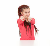 Teenage girl pointing on you. White background Royalty Free Stock Photos