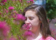 Teenage girl with pollen allergy Royalty Free Stock Image