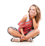 Teenage Girl Portrait. Teenage Girl on a White Background. Teenager royalty free stock image