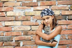 Teenage girl portrait with cat Royalty Free Stock Images