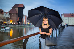 Teenage girl portrait in the old town of Gdansk Royalty Free Stock Photography