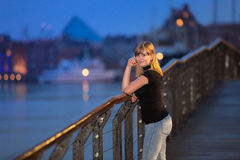 Teenage girl portrait in the old town of Gdansk Royalty Free Stock Photos