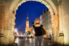 Teenage girl portrait in the old town of Gdansk Royalty Free Stock Image