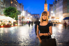 Teenage girl portrait in the old town of Gdansk Stock Image
