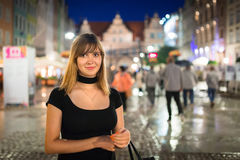 Teenage girl portrait in the old town of Gdansk Stock Images