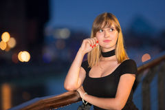 Teenage girl portrait in the old town of Gdansk Stock Photography