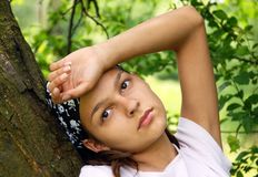 Teenage girl portrait outdoor Stock Images