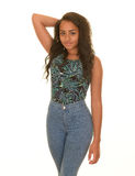 Teenage girl in pose. Teenage girl with long brunette hair posing in blue jeans and colorful top Stock Photo