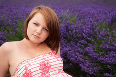 Teenage girl posing against lavender field Royalty Free Stock Images