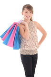 Teenage girl posing with shopping bags Royalty Free Stock Images