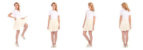 Teenage girl posing in short skirt isolated. Set Royalty Free Stock Photos