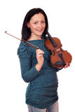 Teenage girl posing with violin Royalty Free Stock Image