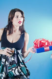 Teenage girl with present Royalty Free Stock Photo