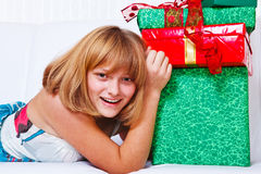 Teenage girl  with presents Stock Photography