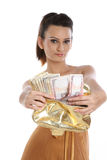 Teenage girl  with purse full of cash Stock Photography