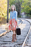 Teenage girl on railroad track Royalty Free Stock Photography